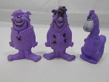 3-Vtg 1987 Flintstone Character Figures Post Cereal Fred Barney Dino Purple