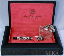 MONTEGRAPPA 1995 SILVER DRAGON LIMITED EDITION SET: FOUNTAIN PEN+INK POT
