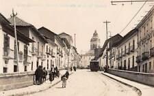 QUITO, ECUADOR, CARRERA MALDONADO, CALLE DEL MESON TROLLEY REAL PHOTO PC 1920's