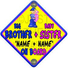 Amarillo, Rosa Y Azul Sol Big Brother + hermanita Bebé a bordo de signo de ventana de coche