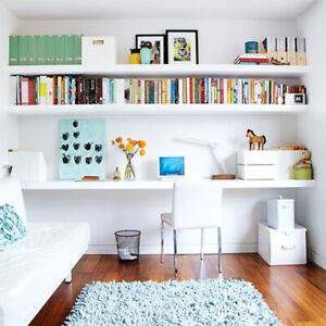 One 30-100cm White High Gloss Wall Floating Shelves Storage Bookcase Shelf Rack