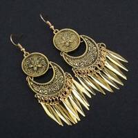 Retro Carved Tassel Exaggerated Earrings Gold Silver Color Dangle Tassel Earring