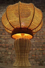 Vintage Table Lamp 70er Luminaire Sideboard Light Filament Bast 70s