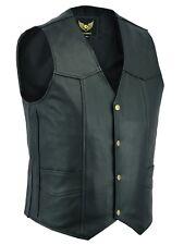 Mens Classic Motorcycle Biker Black Leather Fashion Waistcoat Vest - Top Grain