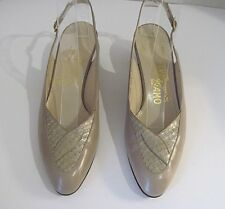 Salvatore Ferragamo Taupe Snake skin Leather Slingbacks Heels Size 6.5 AA,