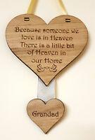 MEMORIAL HEART PLAQUE WOODEN SIGN LOVED ONE IN HEAVEN BEREAVEMENT KEEPSAKE GIFT