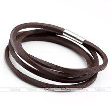 1x Genuine Leather Braided Multilayer Wrap Surfer Bracelet Wristband Bangle Cuff