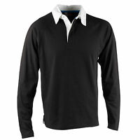 Mens US Basic Black Rugby Shirt Polo White Collar Top Long Sleeve 100% Cotton