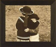 THE HUG by Betsy Cameron 18x21 FRAMED PRINT B&W Photo Kids Children PICTURE