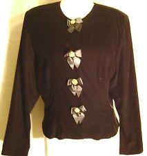 Black Velvet Velour LS Blouse Jacket SZ 12 Susan Bennett Holiday Occasion Career