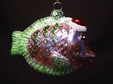 Vtg Blown Glass Tropical Fish Xmas Ornament Pink Green Handmade Unique Figurine