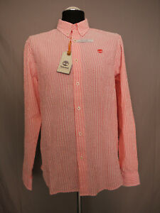 Timberland Herren Hemd Stripe SeerSucker Shirt Cayenne Gr. M Regular Neu/Etikett