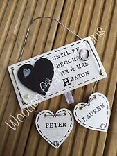 Personalised Wooden White Glitter Sparkle Plaque Countdown Wedding Mr & Mrs Gift