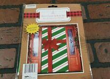 """Christmas Door Cover & Bow Set  30"""" X 60"""" Green Stripe Wrap  Plastic Door Cover"""