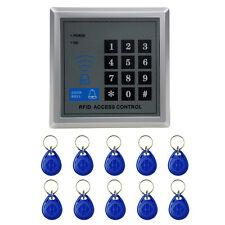 RFID Security Reader Door Lock Keypad Access Control System DC 12v 10 Keys Fobs