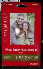 "Canon Photo Paper Plus Glossy II Inkjet Paper, 4x6"" 100 Sheet Pack (one package)"