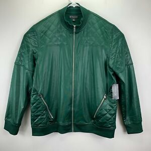 INC International Concepts Mens Quilted Bomber Jacket Green L