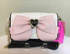 Betsey Johnson Crossbody Pink Bow Black & White Quilted Handbag Wallet NWT $75.