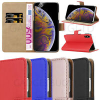 CASE FOR IPHONE XS MAX REAL GENUINE LEATHER SHOCKPROOF WALLET FLIP