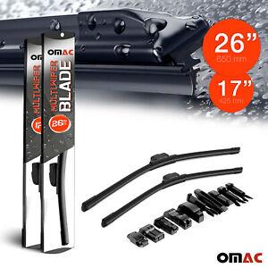 """OMAC Premium Wiper Blades 17"""" &26 Combo Pack for Maserati Gran Turismo 2008-2019"""