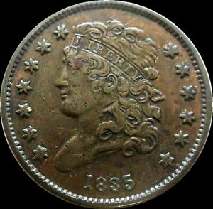 1835 COPPER HALF CENT CLASSIC HEAD COIN CONDITION EXTREMELY FINE