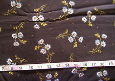 "100% Cotton Fabric ""Chrysanthemom"" by Maywood Studios, Dark Brown w/White Flower"