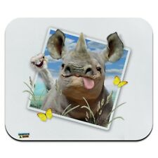 Rhino Rhinoceros Selfie Picture Funny Low Profile Thin Mouse Pad Mousepad