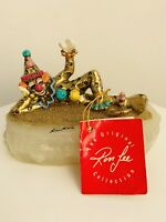 Vintage Clown By Ron Lee 24 Karat Gold Plate Onyx Signed 1985 MINT