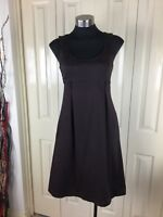 Cue Dress, Size 10, Brown. Cotton Blend, Fit And Flare