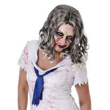 Evil Zombie Lady Grey Wavy Wig Halloween Fancy Dress Wig P8001