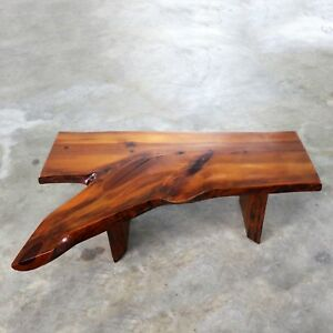 Live Edge Solid Slab Coffee Table or Benchin the Style of George Nakashima