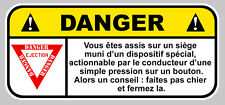 DANGER SIEGE EJECTABLE JDM HUMOUR FUN AUTOCOLLANT STICKER 12cmX5,5cm  DA157.