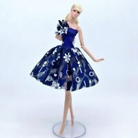 Blue Floral Tutu Dress Fashion Doll Clothes For Barbie Doll Outfits Gown 1/6 Toy
