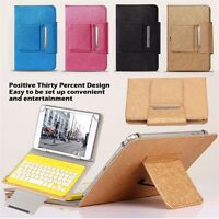 """Universal Tablet Leather Case Cover with Bluetooth keyboard for 7"""" 8"""" 10"""" tablet"""