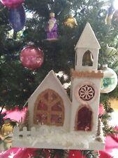 "Vintage Christmas Village Cardboard Putz Church Coconut Brush Trees Japan 10"""