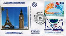 FRANCE FDC - 2882 2883 1 TUNNEL SOUS LA MANCHE - CALAIS 3 Mai 1994 - LUXE soie