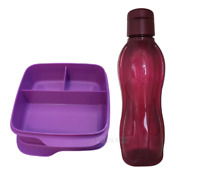 Tupperware Clevere Pause Lunchbox Brotdose lila  + EcoEasy Flasche 0,75 brombeer