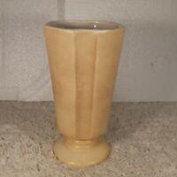 "Vintage 1977 Haeger Art Deco Pottery Vase Cream Ivory White USA Made Height 9"""