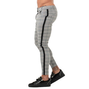 GINGTTO Men Stretch Chinos Slim Fit Trousers Gray Check Cotton Chino Designer