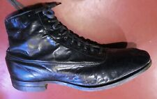 "1890's Victorian Fine Kid Leather Boot Shoe Black Blunt Toe 1.5"" Heel Size Wide"