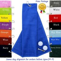 New Tri Fold Velour Golf Towel With Carabiner Clip Golfing Towels 590gsm