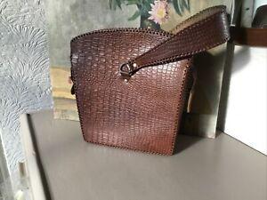 Stunning 1930/40s Vintage Brown Leather Handbag #6445
