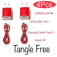 USB Wall Charger Adapter 1.A + Type C Fast Charging Data Sync Cable For Android.