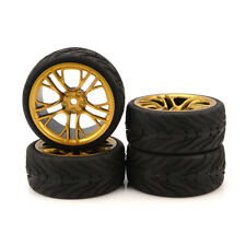 1/10 Rubber Tire Wheel Rims Flat Racing 4pcs  For HSP HPI RC On-Road Car 6MG