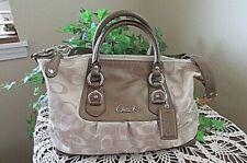 Coach F18425 Ashley tan/copper sateen/leather Signature Satchel roomy handbag