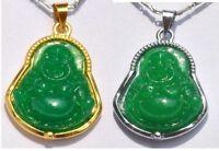 fashion CHINESE silver edge GREEN JADE BUDDHA PENDANT chain NECKLACE