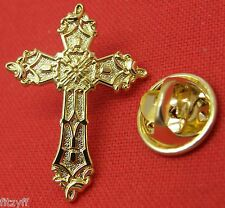 Gold-Colour Holy Cross Lapel Cap Hat Tie Pin Badge Religious Christian Brooch