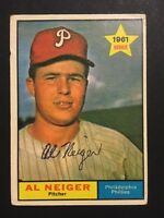Al Neiger Phillies Signed 1961 Topps Baseball Card #202 Auto Autograph