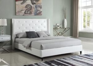 White Leather Queen Bed Frame with Headboard (Unavailable Elsewhere)