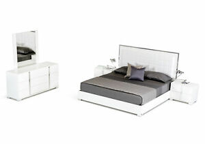 Contemporary White Bedroom Furniture - 5pcs King Size Leatherette Bed Set IVA4